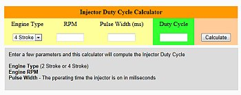 Fuel Injector Duty Cycle Calculator