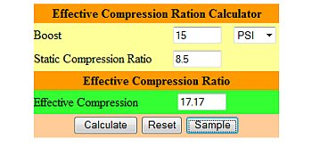 Effective Compression Ratio Calculator