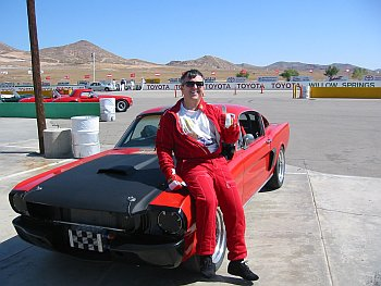 Sandy Ganz at Willow Springs with The Ripper Mustang