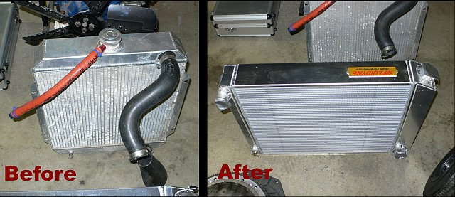 The Ripper's Fluidyne Radiators - Before and After