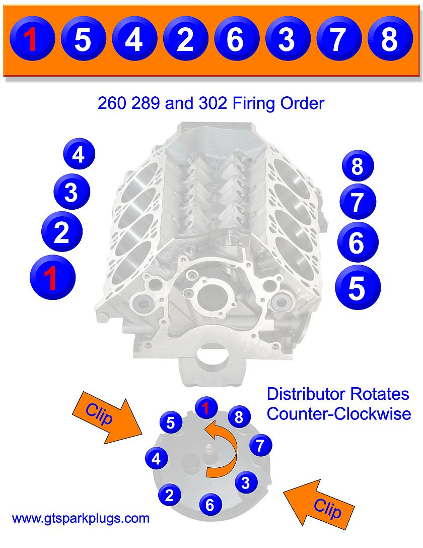 Ford 260 289 302 Firing Order Gtsparkplugs. Small Block Ford 260 289 302 Firing Order. Chevrolet. 1968 327 Chevy Distributor Wiring Diagram At Scoala.co