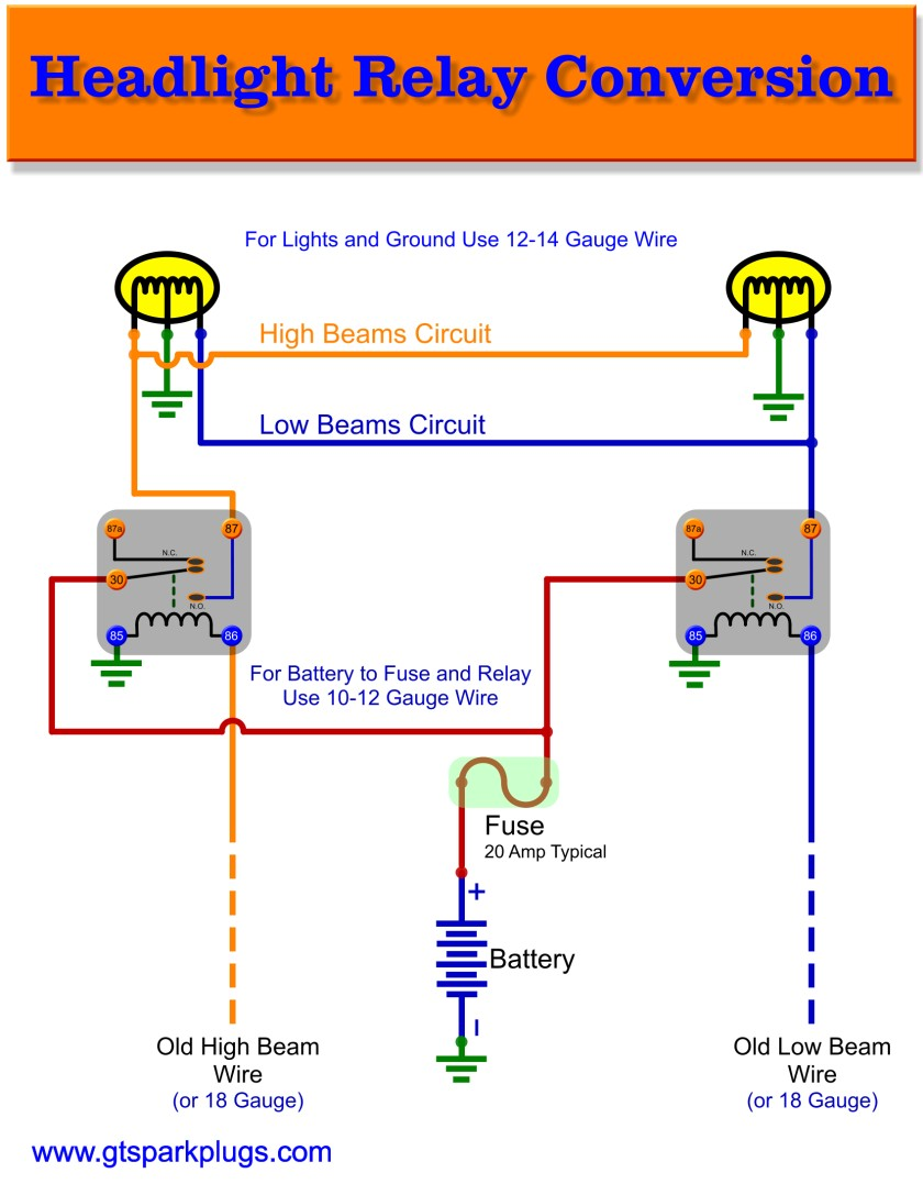 Headlight Relay Wiring Gtsparkplugs 20 Amp Diagram