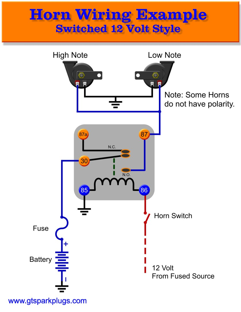 horn relay 12 volt schematic 840x automotive horns gtsparkplugs bosch relay wiring diagram for horn at crackthecode.co