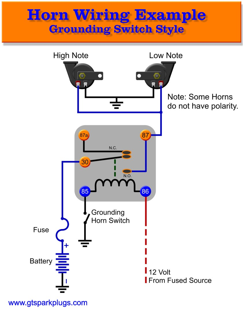 horn relay gnd schematic 840x automotive horns gtsparkplugs ongaro horn switch wiring diagram at bayanpartner.co