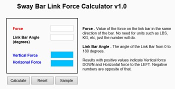 Sway Bar Link Force Calculator