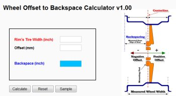 Wheel Offset to Backspace Calculator